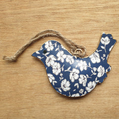 Floral Blues Metal Bird Ornament - The Chic Nest