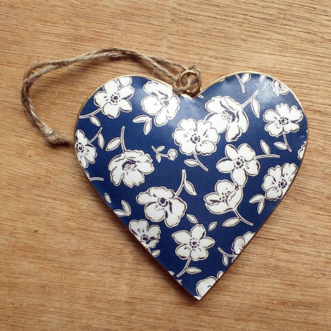 Floral Blues Metal Heart Ornament - The Chic Nest