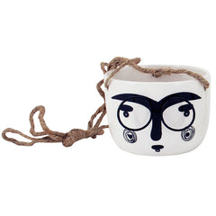 Hanging Face Mini Planter With Metal Glasses  - Medium