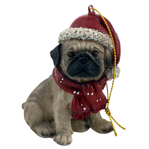 Hanging Pug Christmas Ornament
