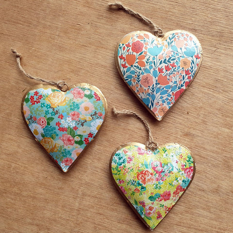 Spring Floral Metal Heart Ornament - The Chic Nest