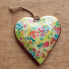 Spring Floral Metal Heart Ornament