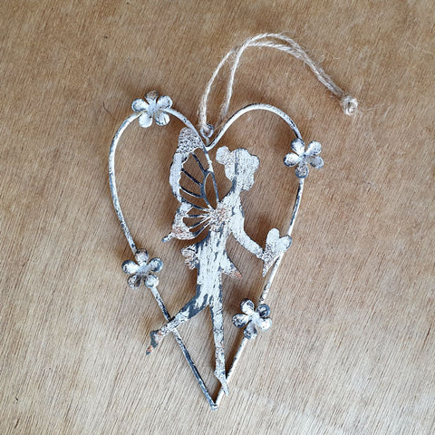 Hanging Metal Fairy in Heart - Standing - The Chic Nest