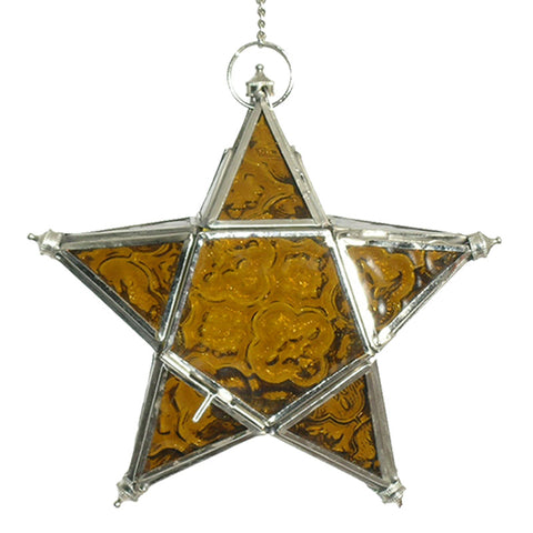 Star Hanging Iron and Glass Lantern - Amber - The Chic Nest