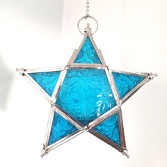 Star Hanging Iron and Glass Lantern - Aqua - The Chic Nest