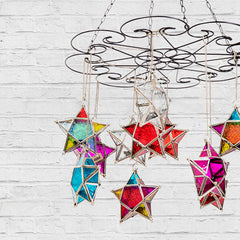 Star Hanging Iron and Glass Lantern - Purple - The Chic Nest