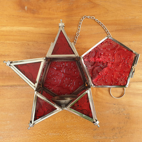 Star Hanging Iron and Glass Lantern - Red - The Chic Nest