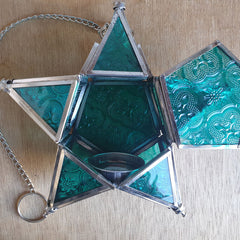 Star Hanging Iron and Glass Lantern - Turquoise - The Chic Nest
