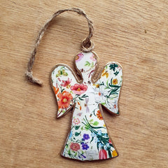 White Floral Metal Angel Ornament
