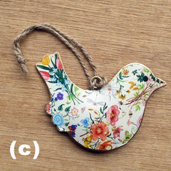 White Floral Metal Bird Ornament