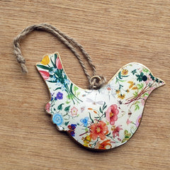 White Floral Metal Bird Ornament - The Chic Nest