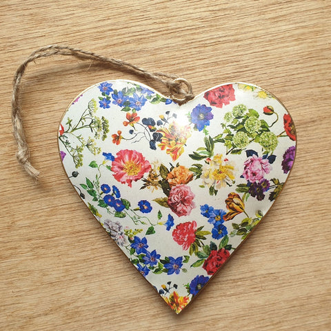 White Floral Metal Heart Ornament - The Chic Nest
