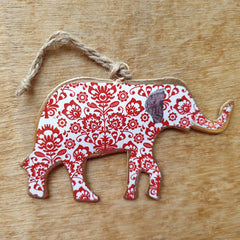 Floral Red Elephant Ornament - The Chic Nest