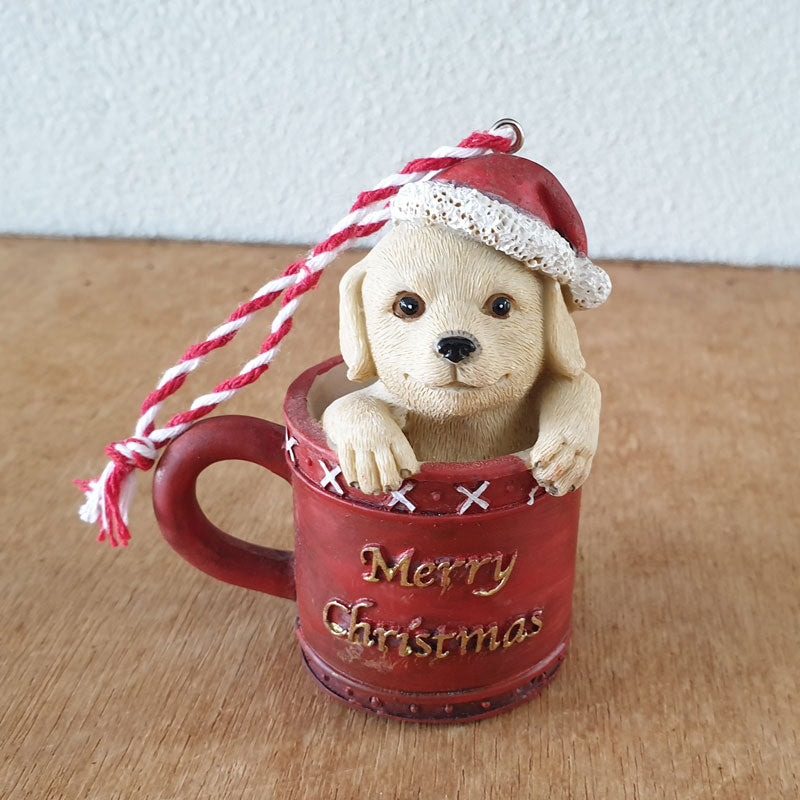 Retriever Pup Christmas Hanging Ornament