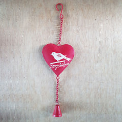 Bird Design Heart With Bell - The Chic Nest