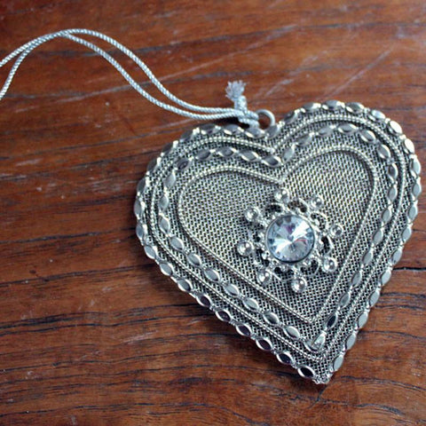 Heart Lace Beaded Ornament - The Chic Nest