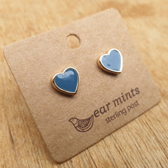 Heart Bluestone Ear Mints Earrings - Gold