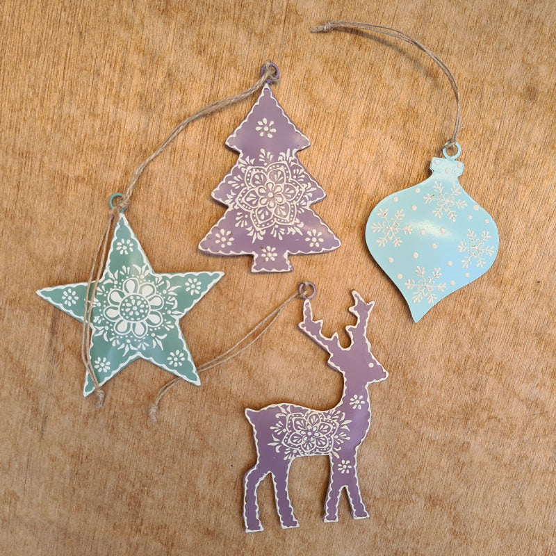 Ice Blue Henna Bauble Ornament