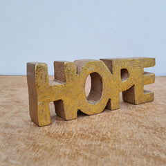 Hope Wooden Word Sign - Gold