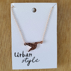 Rose Gold Hummingbird Necklace