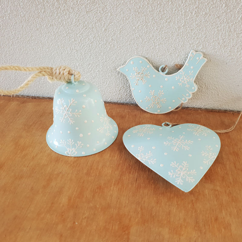 Ice Blue Heart Ornament