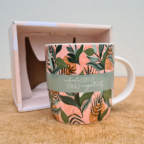 Inhale Coffee Exhale Negativity Gift Boxed Mug