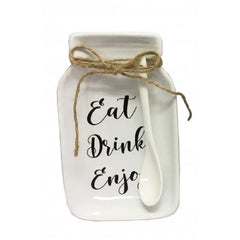 Jar Plate & Spoon Set - Eat, Drink, Enjoy - The Chic Nest