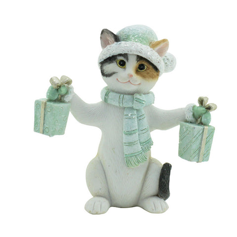 Jingle Cat Christmas Figurine - Green