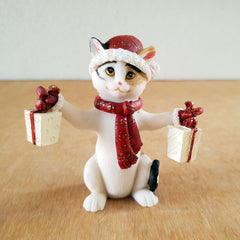 Jingle Cat Christmas Figurine - Red
