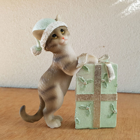 Jingle Cat With Present  - Green