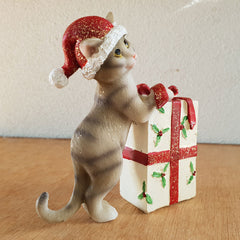 Jingle Cat With Present  - Red