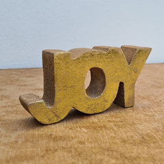 Joy Wooden Word Sign - Gold