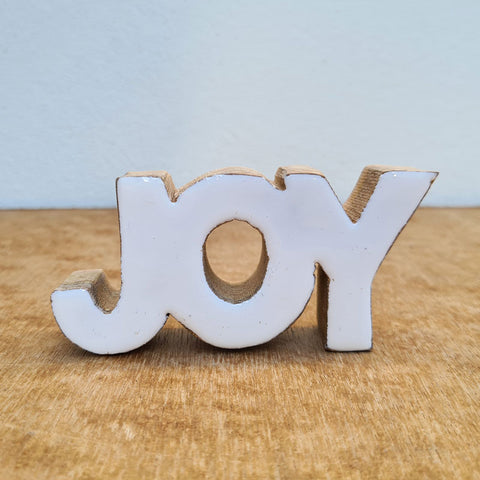 Joy Wooden Word Sign - White Gloss