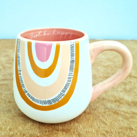 Just Be Happy Rainbow Mug