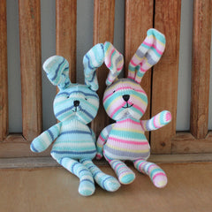 Pink, Mint & Grey Knit Bunny - The Chic Nest