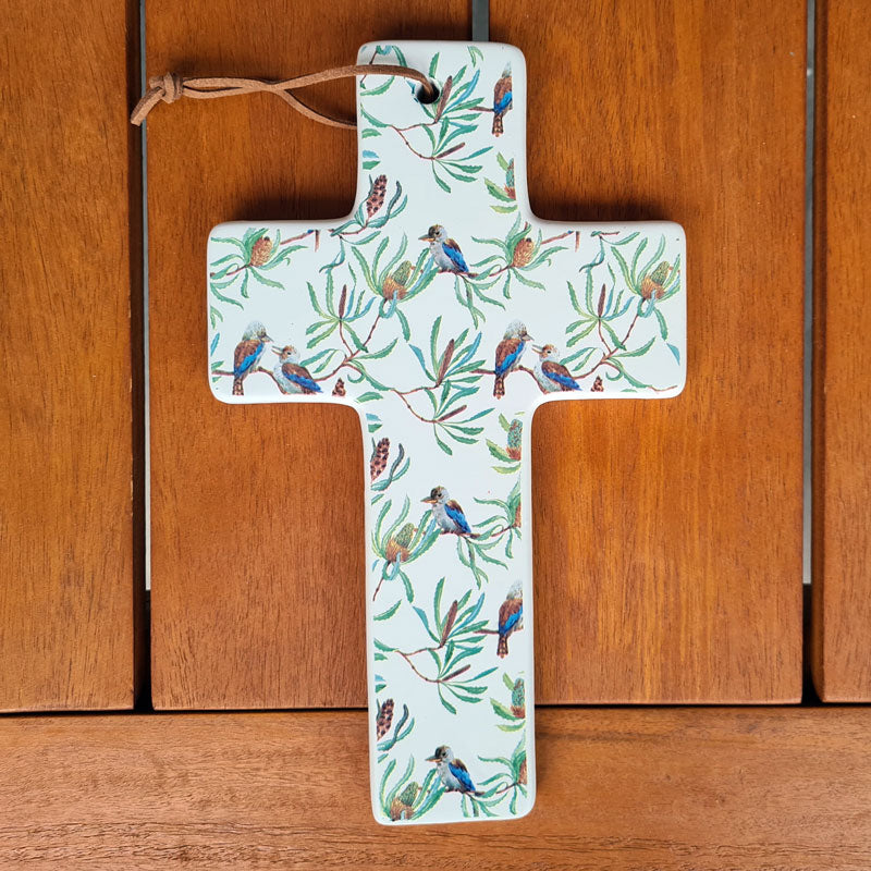 Hanging Ceramic Cross Kookaburra Design - Large