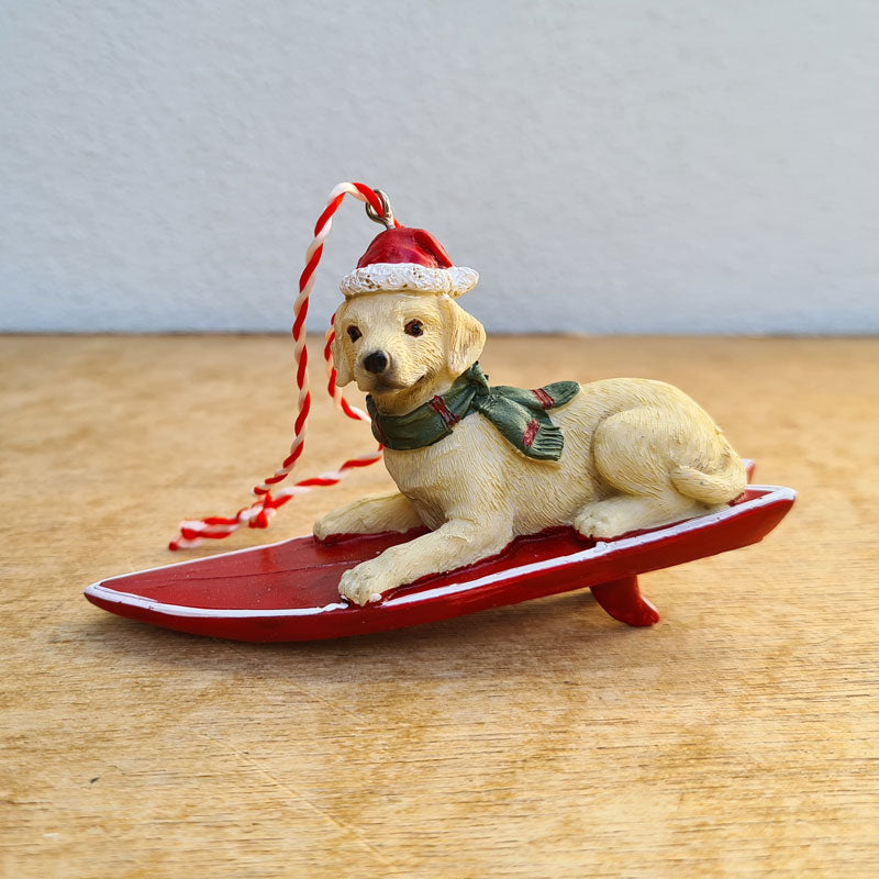 Labrador On Surfboard Christmas Hanging Ornament