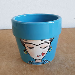 Lady Face Plant Pot - Aqua - The Chic Nest