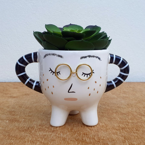 Lady With Glasses Plant Pot
