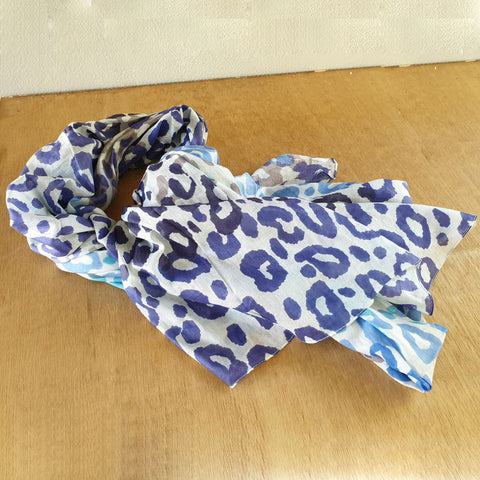 Leopard Print Blue/Grey Scarf - The Chic Nest