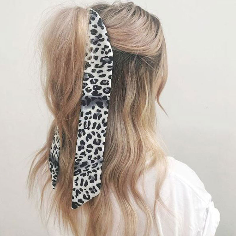 Leopard Print Hair Tie - Black