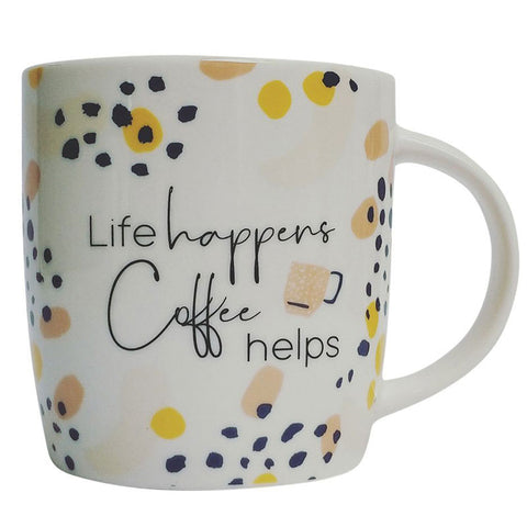 Life Happens Coffee Helps Gift Boxed Mug