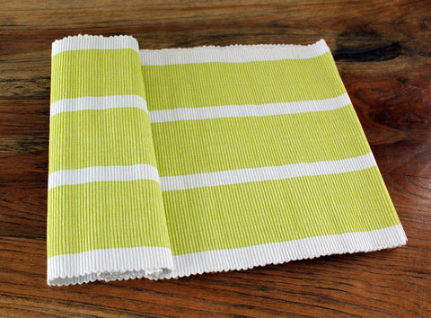 Lime Striped Table Runner - The Chic Nest