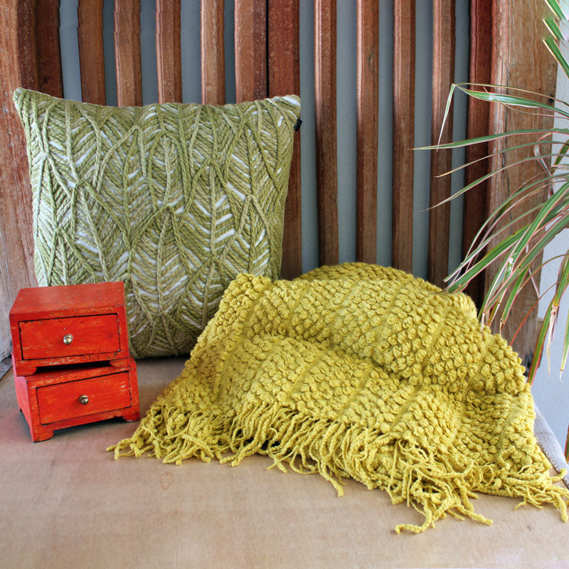 Woven Green Cushion