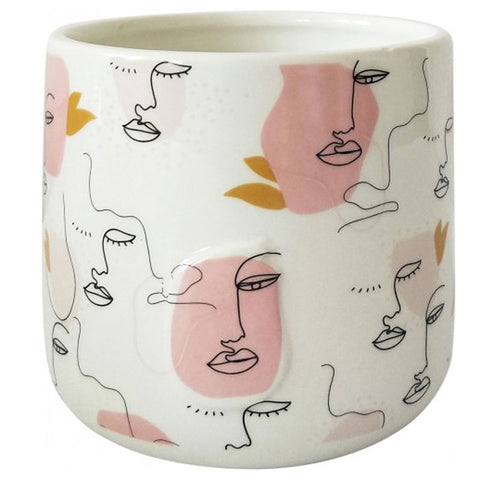Face Linear Drawing Ceramic Planter Pot