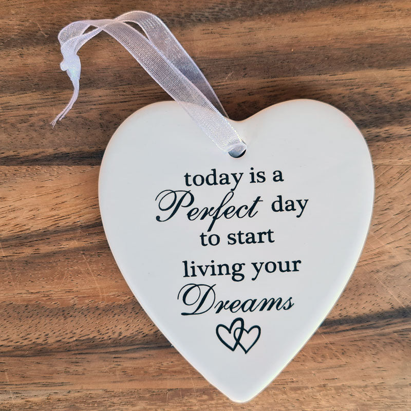 Live Your Dreams Hanging Heart Ornament