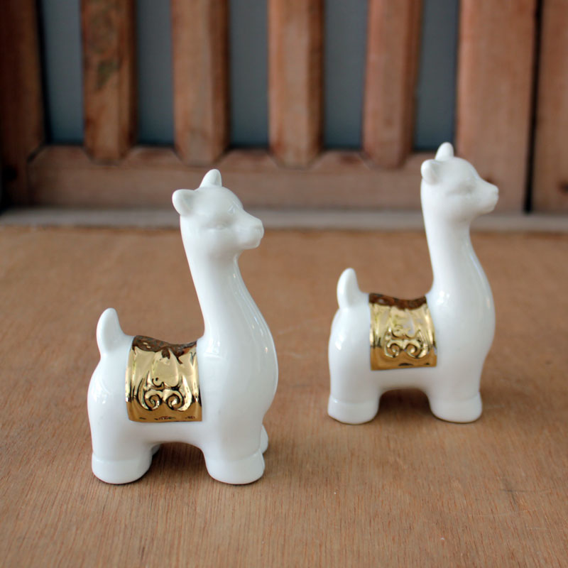 Llama With Gold Saddle - The Chic Nest