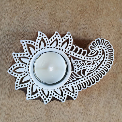 Lotus Design Wood Block Tea Light Candle Holder - The Chic Nest