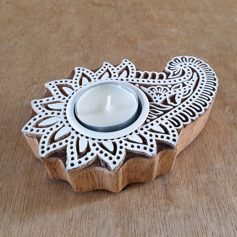 Lotus Design Wood Block Tea Light Candle Holder