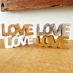 Love Wooden Word Sign - White Gloss